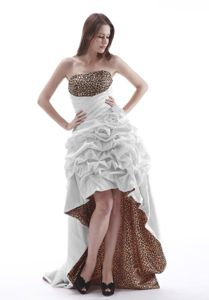 Leopard Print White High-low Prom Attire with Pick-ups Free Shipping