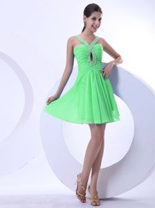 Spring Green Short Cocktail Prom Dress for Summer with Beads in Fashion