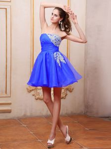 Lovely Strapless Appliqued Puffy Sky Blue Short Prom Dresses Cheap