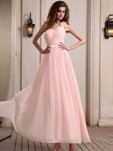 Romantic One Shoulder Chiffon Baby Pink Formal Prom Outfits in Style