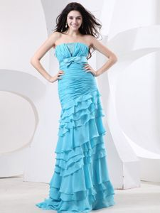 New Tiered Ruched Aqua Blue Formal Prom Dress for High Girls with Bowknot