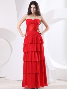 Perfect Sweetheart Red Long Prom Gown with Ruffled Layers under 150