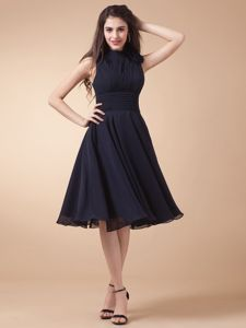Navy Blue 50s Style Swing Prom Dresses for Summer with Keyhole and Flower