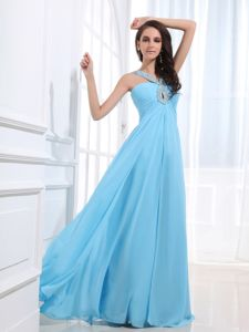 Recommended Pretty Baby Blue Junior Prom Dress with Beaded Straps