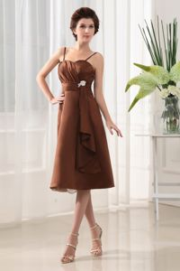 Brand New Brown Tea-length Prom Outfits with Spaghetti Straps on Sale