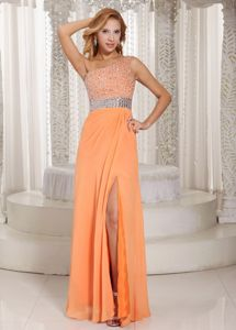 One Shoulder Beaded Slitted Orange Senior Maxi Prom Dress Brand New