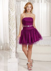 Strapless Beaded Purple Mini Junior Prom Dress Designer on Discount