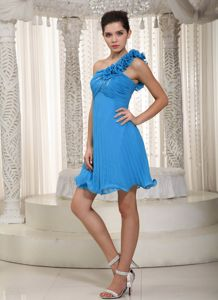 Plus Size One Shoulder Pleated Short Prom Dresses in Blue Free Shipping