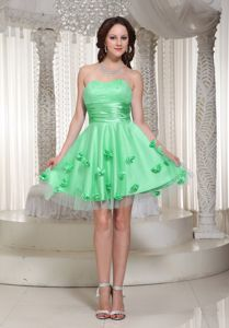 Girly Apple Green Short Puffy Prom Dresses with Floral Embellishment