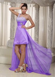 One Shoulder High-low Beaded Lavender Dress for Prom in Good Quality