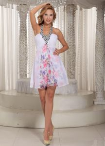 Printing Colorful Short Senior Prom Dress with Beaded Halter Top under 100