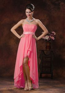 Perfect High-low Watermelon Chiffon Prom Dresses in The Mainstream
