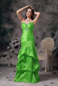 Lace-up Spring Green Formal Senior Prom Dress with Pick-ups under 150
