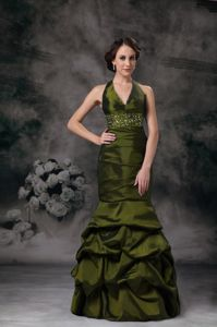 Newest Olive Green Mermaid Halter Top Beaded Prom Dress with Pick-ups