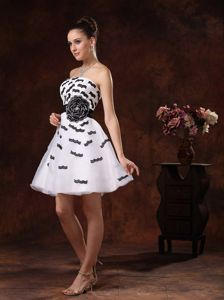 Beautiful Organza White Short Prom Dress with Black Appliques in Jamestown ND