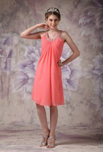 Pretty Watermelon Short Chiffon Senior Prom Dress with Beaded U-Neck