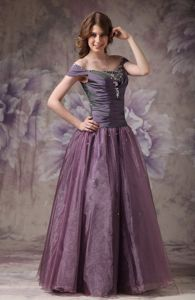 Mature Off The Shoulder Beaded Dark Purple Prom Outfits on Promotion