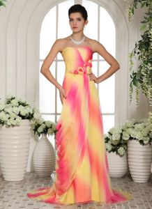 Unique Ombre Color Brush Train Prom Gowns with Handmade Flowers