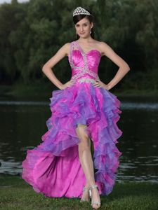 Pretty High-low Ruffled Beaded Prom Attire One Shoulder in Multi-color