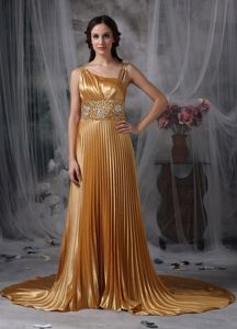 Asymmetrical Neck Beaded Pleated Gold Prom Gown Dress on Big Discount