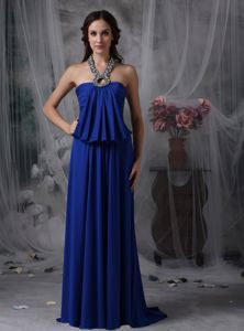 Lace-up Royal Blue Formal Dress for Prom with Beaded Halter Top Free Shipping