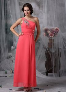 Ankle-length Chiffon Beaded Coral Red Prom Dresses 2013 for Wholesale