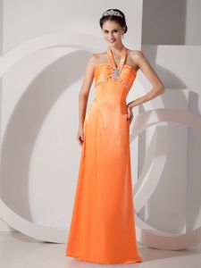 Plus Size Halter Top Beaded Orange Red Long Prom Dress for 2013 Summer