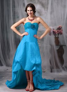 Zipper-up High-low Teal Prom Dresses with Beading and Flower for Cheap Price