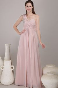 Chiffon One Shoulder Baby Pink Prom Attire with Beading under 150