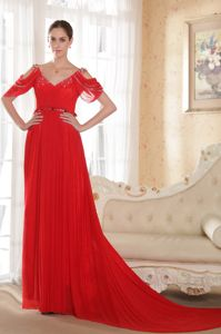 Charming V-neck Chapel Train Red Prom Dresses with Short Open Sleeves