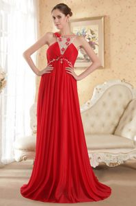 Scoop Neck Court Train Red Prom Gown with Flowers Henderson NC