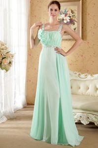 Straps Beaded Apple Green Formal Prom Dress with Rhinestones and Flowers