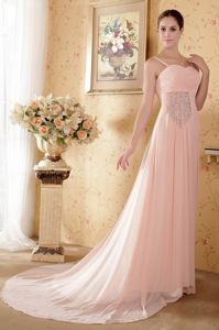 Chiffon Straps Court Train Baby Pink Formal Prom Gowns Plus Size