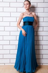 Free Shipping Empire Strapless Pleated Blue Long Prom Dresses Factory