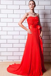 Red Strapless Pleated Prom Dresses in Chiffon with Brush Train in Clemson