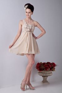 Champagne One Shoulder Short Chiffon Prom Attire with Ruches in Scranton