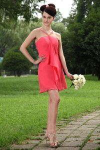 Straps Mini-length Chiffon Formal Prom Dress in Coral Red in Reading