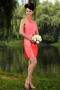 Watermelon Red High-neck Mini-length Dress for Prom in Taffeta in York