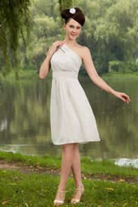 Grey One Shoulder Knee-length Prom Dress in Chiffon in State College