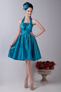 Teal Halter Taffeta Knee-length Prom Outfits with Bowknot in Easton