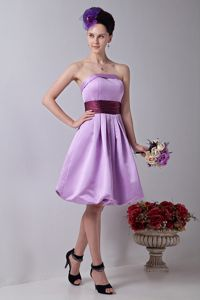 Lavender Strapless Knee-length Formal Prom Dress with Sash in Tigard