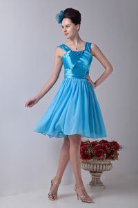 Straps Knee-length Chiffon Ruched Dress for Prom in Aqua Blue in Medford