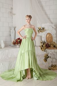 A-line Strapless Ruched Prom Dress with Chapel Train in Green in Gresham