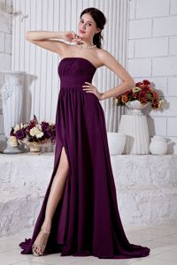 Dark Purple Strapless Ruched Dress for Prom with Brush Train in Eugene