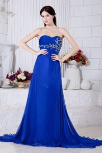 Sweetheart Chiffon Prom Dress with Embroidery in Royal Blue in Portland