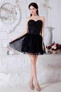 Black Sweetheart Short Prom Dresses with Beading Mini-length in Medford