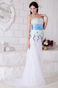 White Sweetheart Prom Dresses with Beading and Light Blue Belt in Hillsboro