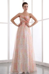 Colorful Sweetheart Prom Dresses with Ruches and Printing in Gresham