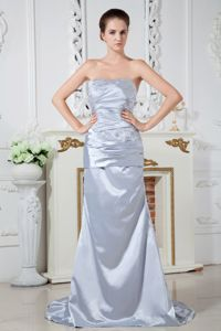 Lilac Strapless Satin Prom Attire with Beading and Ruches in Corvallis
