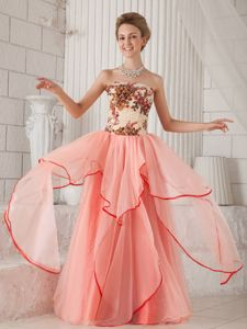 Strapless Floor-length Watermelon Prom Dress with Appliques in Gympie